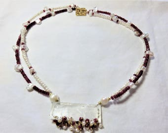 Antique Chinese Mother of Pearl Monogram Carved Gaming Counter Pendant,Ruby,Freshwater and Kaeshi Pearls Gold Necklace