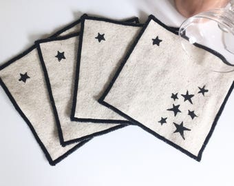 Stars Handmade Block Printed Cocktail Napkins, Set of Four, Cloth coasters, Cocktail party accessory