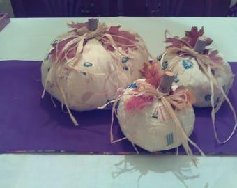 Pumpkin Set of 3 Antique Handmade Quilt Fall Autumn Halloween Thanksgiving Country Chic Farmhouse Fabric Centerpiece