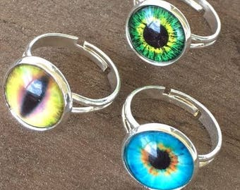 Set of 3 Eyeball Cats Eye Silver Plated Adjustable Rings Gift Idea Jewelry Glass