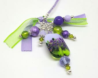 Lovely Summer Garden Glass Lampwork Bead Beaded Bookmark Book Thong Purple Green