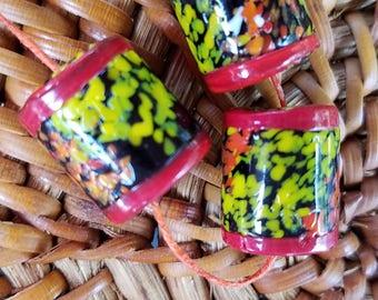 Vintage African Banded Barrel Beads  (3)   XVAB12