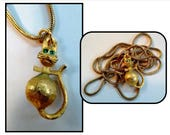 """Vintage Gold Plated Kitty Cat Pendant with Green Rhinestone Eyes on Long 17"""" Gold Serpentine Chain, Marks C S"""