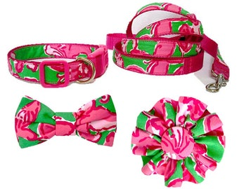ALL A FLUTTER Dog Collar and/or Leash on Dark Pink with Bow or Flower Option Made from Lilly Pulitzer Fabric Size: Your Choice