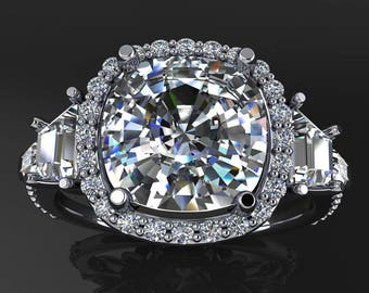 ready to ship - stephanie ring - 3 carat NEO moissanite engagement ring, ring size 7