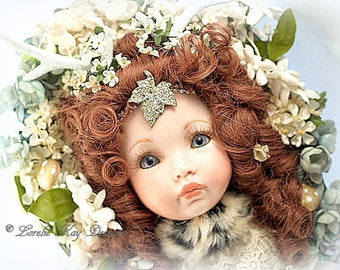 Mori Girl Whimsical Forest Creature Mounted Deer Girl Doll Head Antique Doll Mori Girl Assemblage Lorelie Kay Original