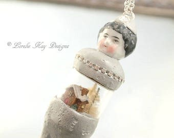 Frozen Charlotte Necklace Snow Dome Art Doll Ornament/Necklace  Doll Dome One-of-a-Kind Doll Miniature Snow Globe Decoration