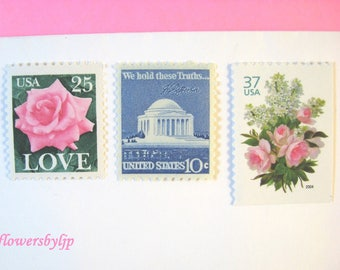 Pink + Blue Vintage Postage, Love Pink Roses - White Lilacs Bouquet Stamps, Mail 20 Wedding Invitations 2 oz, 71 cents postage pink floral