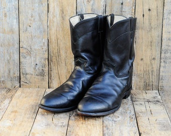 Men Us 16, Uk 15.5 Eu 49, Black Cowboy Boots, Leather Cowboy Boots, Justin Boots, Roper Boots, USA, Black Western Boots, Leather Western