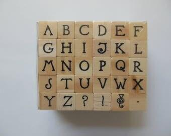 Alphabet Stamp Set - Alphabet Rubber Stamps - Hampton Art Stamps - Wood Mounted Rubber Stamps - Set of 30 Stamps
