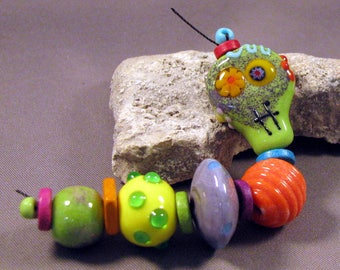 Handmade Lampwork Bead Set by Monaslampwork - Enameled Sugar Skull and Others - Enamels and dots, full of color Handmade by Mona Sullivan