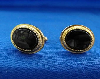 Vintage Cuff Links, Onyx, Gold Plated, Signed, ca 1960s RO-12