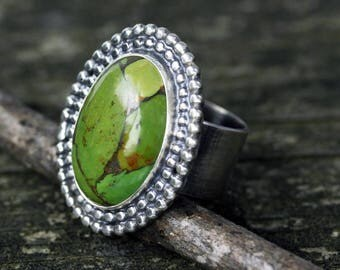Green turquoise sterling silver statement ring size 7