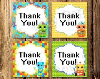 Robot Birthday Thank You Tags - Instant Download