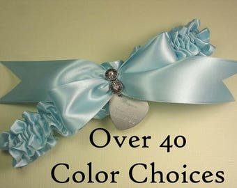 Personalized Wedding Garter in Satin with Swarovski Crystals - Choose from Over 40 Color Choices