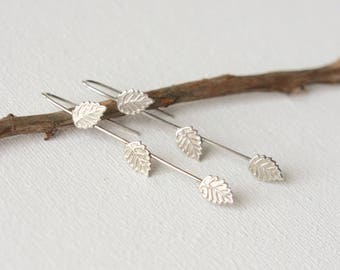 Long Sterling Silver Leaf Earrings, Woodland Jewelry, Nature Jewelry, Delicate Silver Leaves, Nature Inspired Jewellery