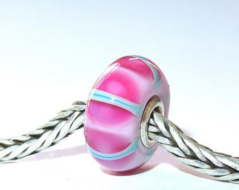 Luccicare Lampwork Bead - Pink IV -  Lined with Sterling Silver