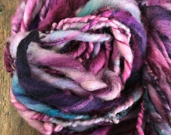 Gumboots  - handspun bulky yarn, 34 yards, bulky yarn, rustic art yarn, chunky yarn, wool handspun yarn, purple and pink
