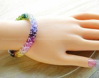Rainbow bracelet; crystal bracelet; Swarovski bracelet; Glass bracelet;Luxurious Dark Rainbow Swarovski Crystal Bracelet by CandyBead