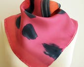 Scarflette Hand painted Silk. 21.65x21.65 inches. Hand painted Silk scarf Mini- Woman silk scarf. 55x55 cm