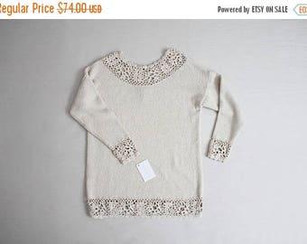 25% OFF SALE crochet sweater   beige silk sweater   express tricot