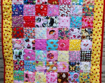 Girl I-Spy Crib Sized Quilt, Tummy Mat -Red and Black Lady Bugs on Bright Yellow Border - Ready to Ship, Free U.S. Shipping