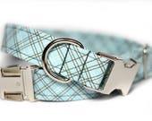Plaid dog collar - Tartan Collar - Nickel Sky Plaid