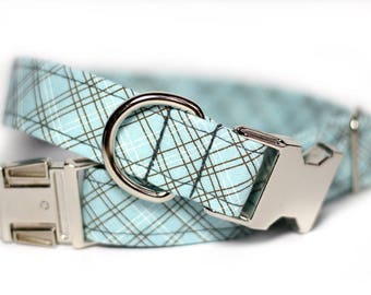 Plaid dog collar - Tartan Collar - Nickel Sky Plaid
