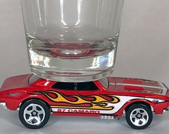 the ORIGINAL Hot Shots Shot Glass, '67 Chevy Camaro, Red with flames, Hot Wheel