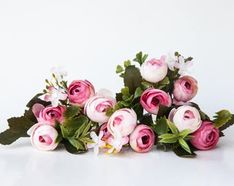 13 Small Mini Vintage Inspired Ranunculus Buds in White and Hot Pink plus Foliage - silk artificial flower - ITEM 01120