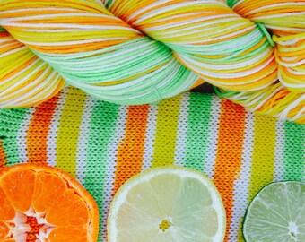 "hand dyed self striping sock yarn - ""Citrus Stripe"""