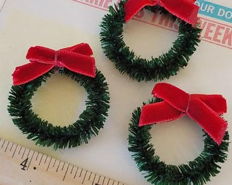 Vintage / Wired Grass Roping Christmas Wreaths / Made in West Germany / Velvet Bows / Set of Three / Miniatures / Natural Fibers