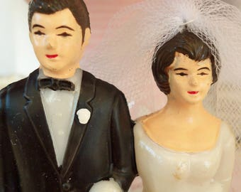 Vintage / Bride and Groom / Plastic / Wedding Cake Topper / Kitschy Retro Charm / Black Tuxedo / Bridal Shower Decorations / Dessert Bar