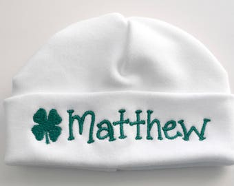 Shamrock St.Patrick's Day Personalized Embroidered Baby Hat
