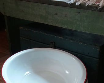 One Large Vintage Enamelware Basin