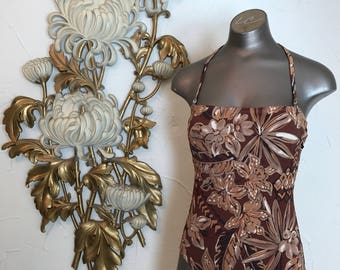 1980s swimsuit tropical swimsuit brown swimsuit size medium vintage swimsuit 80s bathingsuit
