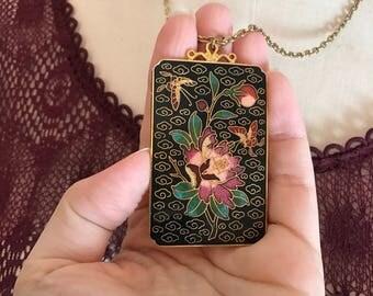 1970s necklace Asian necklace cloisonné necklace butterfly necklace huge pendant bohemian necklace
