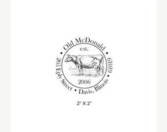 Super Summer Sale Dairy Cow Illustration Custom Return Address Rubber Stamp AD262