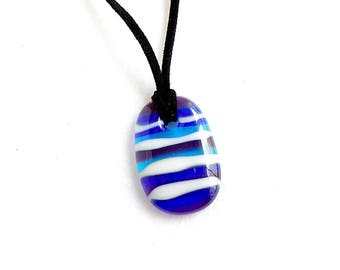 Striped Glass Pendant in Blue, White, and Purple, Pendant Necklace, Multiple Colors, Handmade Jewelry
