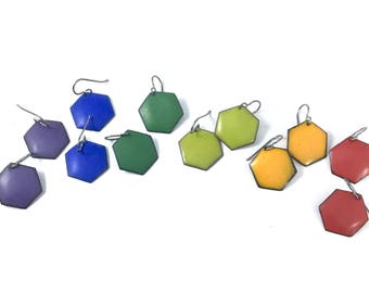 Colorful Hexagon Enamel Earrings - Titanium Earwires - Matte Finish Enamel Earrings - Rainbow Colors - sara westermark - Geometric Enamel