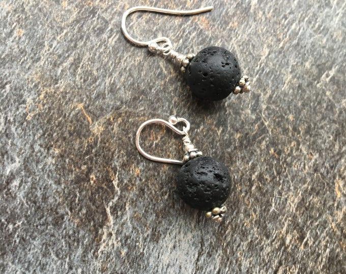Black Lava and Bali Silver Littles Earrings Sterling Silver Talisman Good Luck LBD Gift Dainty Minimalist