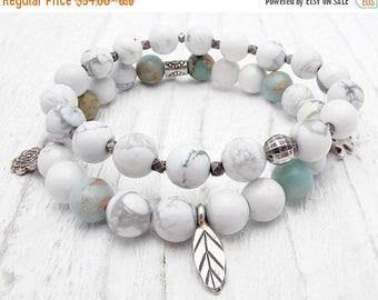 charm bracelet, white stone bracelet, howlite, sterling silver, Hill Tribe silver, ocean jasper, elephant charm, leaf charm, rose charm