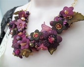 Purple Floral Statement Necklace, Necklace with Pearls, One of a Kind Jewelry, Necklace with Flowers, Summer Jewelry, Blackberry Necklace