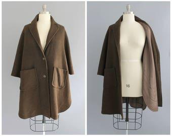 brown nubby poncho coat   vintage 1960s textured overzied coat   vtg 60s coat   large