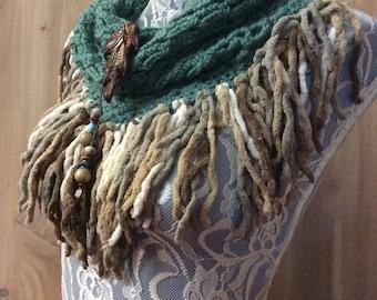 Green Autumn Oak cowl... knit crocheted fringed yarn soft scarf leather tie bohemian boho