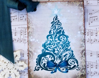 Shabby Blue Christmas Tree Gift Tags