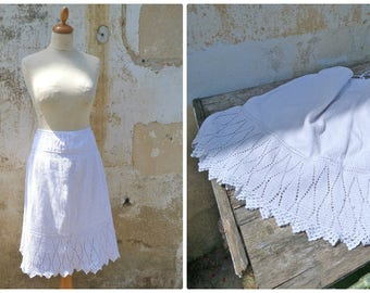 Vintage  Antique  French Victorian crochet knitted petticoat /skirt /1890 white Size adaptable