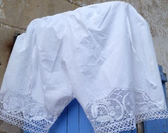 Vintage Antique 1900s Victorian French bloomers white cotton handmade  lace pantalons size S/M/L