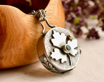 Hollow Form Silver Pendant, Gemstone Pendant, Blue Stone Necklace, Detailed Metalwork, Maple Leaf Pendant, Metalsmithed Jewelry