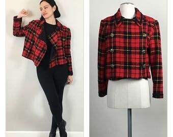 Vintage 90s Handmade Red Plaid Crop Jacket   S   M
